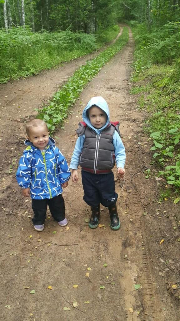 дети гуляют в лесу