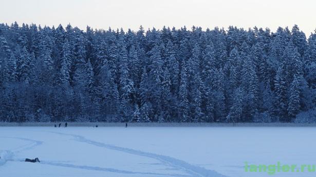 Зимнее озеро в снегу