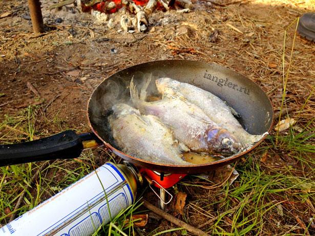 жарим рыбу на природе в сковородке