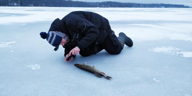 рыболов фотографирует щуку